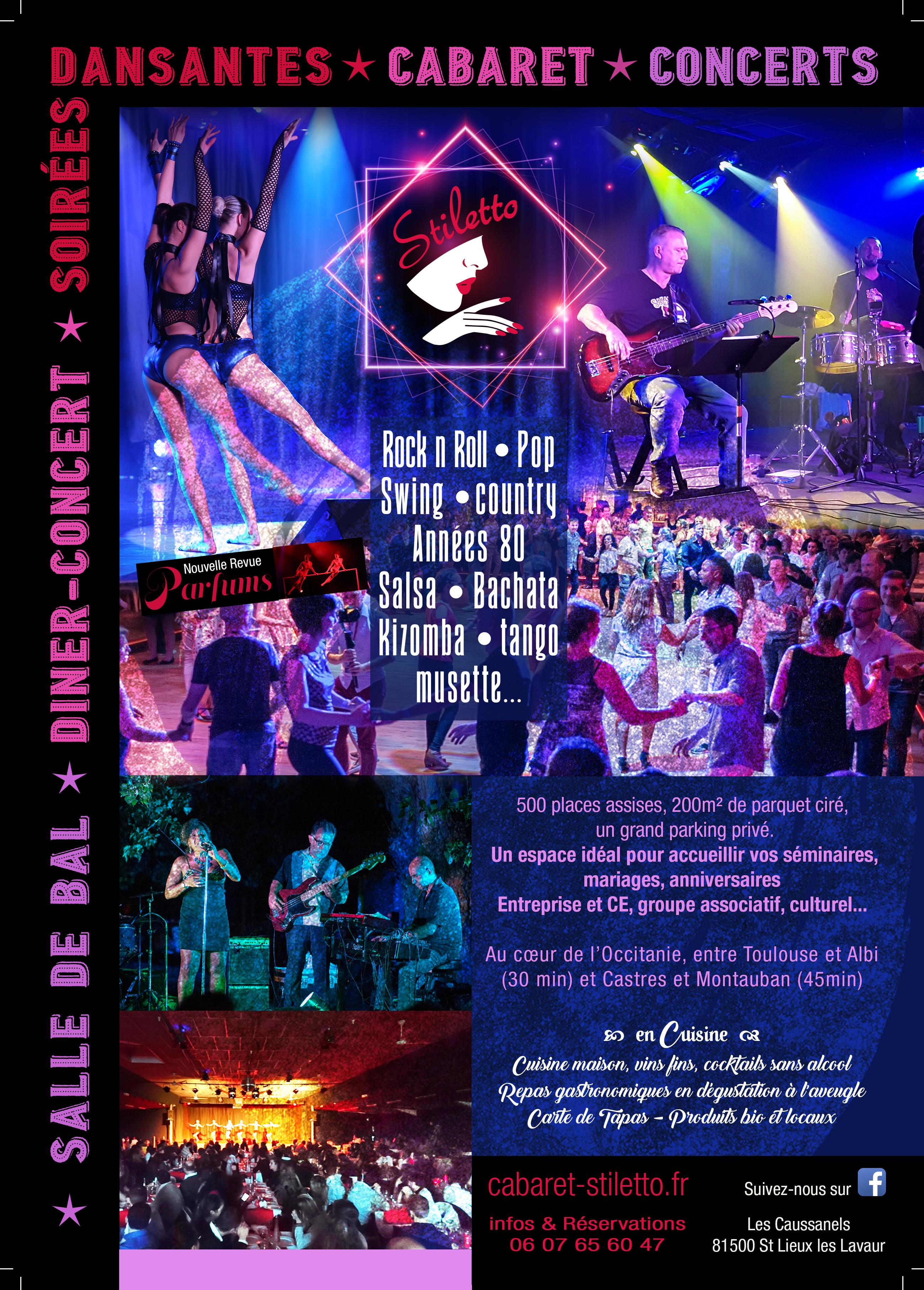 Cabaret, Concerts, Soirées Dansantes, Dîner-Concerts, Salle de Bal
